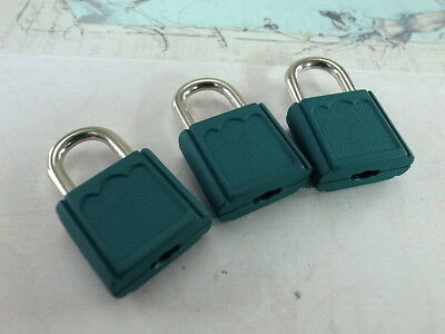 (Lot of 3) Mini Padlock GREEN COLOR Small Tiny Box Lock with Keys