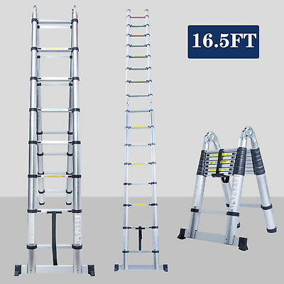 16.5FT Aluminium Ladders Telescoping Multi-Purpose Extension Folding Step Ladder