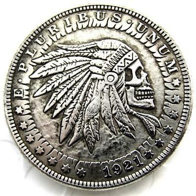 HB(25)US Hobo 1921 Morgan Dollar skull zombie skeleton Creative Coin Pressed Cop