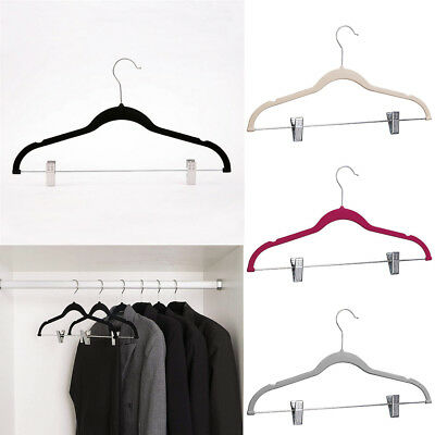 10x 360° Swivel Velvet Hangers With Clips Coat Trouser Organizer Non-Slip Hanger