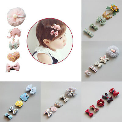 5Pcs Baby Girls Bowknot Heart Crown Flower Hair Clips Set Headwear Hairpins Fun