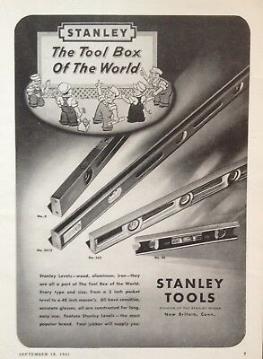 1941 Ad(H19)~Stanley Tool Co. New Britain, Conn. Stanley Levels