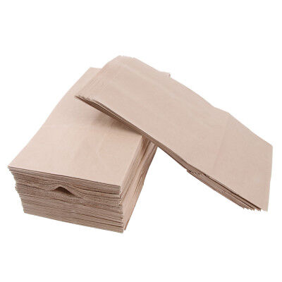 100 Pcs Kraft Paper Food Packing Bags Grease Resistant Takeout 13x8x24cm