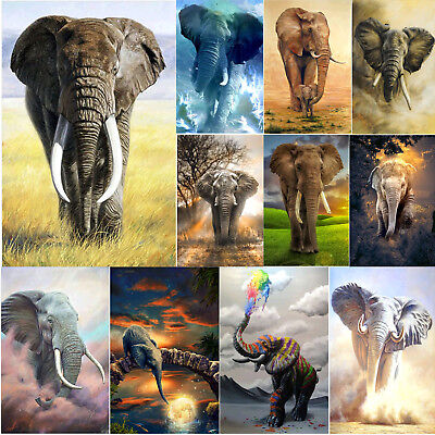 Elephant 5D DIY Full Drill Round Diamond Painting Embroidery Kits for Home Decor