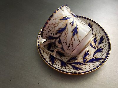 Royal Chelsea Teacup and Saucer Vintage Pattern 261A Blue and Gold England