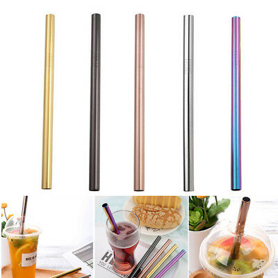 Durable Long Reusable Stainless Steel Drinking Straws Metal Large Straight Straw