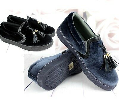 New Ladies Black Grey Tassel Casual Flat Trainers Pumps Shoes Sneakers Size 3-8