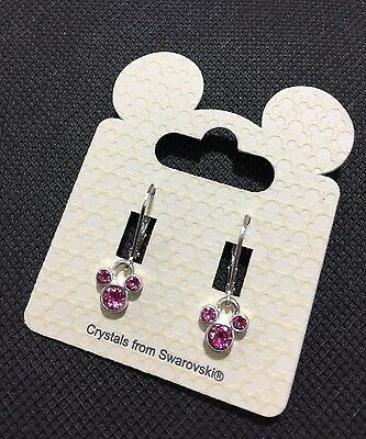 Disney Mickey Mouse Girls Women's Deep Pink Swarovski Crystal Earrings BNWT