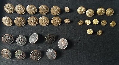U.S. Military Antique Buttons With Eagles Mixed Lot Brass, Copper & Plastic