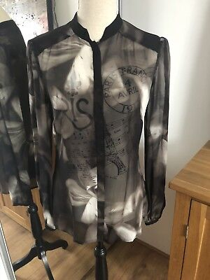 32bd4573fe8665 Womens TED BAKER Shadow Floral black shirt blouse top sheer work Size 2 UK  10