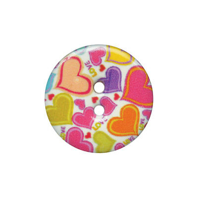 Fine Style Two Hole Love Heart Buttons Wholesale Packs