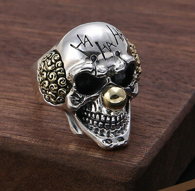 925 sterling silver skull punk ring  Rings men's jewelry adjustable size P2213