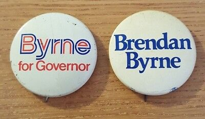 2 Brendan Byrne for Governor Campaign Buttons from 1970's New Jersey