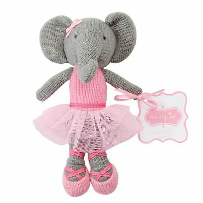"Mud Pie Baby Girl Knit Toy Ballerina Elephant  Rattle 7 1/2 "" tall New"