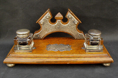 Antique wooden ink stand with glass &  silver plate ink wells & decoration 1918