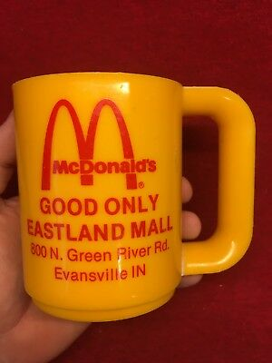 Vintage McDonalds Plastic Mug Coffee Cup Evansville Indiana Am Pro Eastland Mall