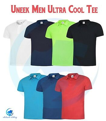 Mens Sports Poloshirt UNEEK UC125 Ultra Cool Breathable Gym Running Polo Shirt T