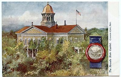 B7023 Nevada State Capitol & Seal Tuck Oilette State Capitols USA Series # 2454