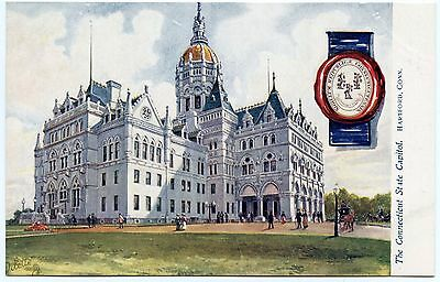 B7003 Connecticut State Capitol Seal Tuck Oilette State Capitols USA Series 2454