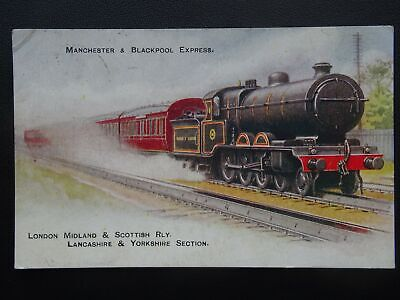 LMS London Midland Scottish Railway MANCHESTER & BLACKPOOL EXPRESS Old Postcard