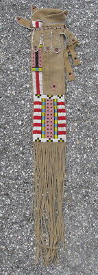 Semi-antique Plains Indians beaded pipe bag Cheyenne sinew sewn beads on hide