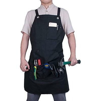 Aprons Work With Tool Pockets, Heavy Duty Black Canvas Durable Padded Water Shop