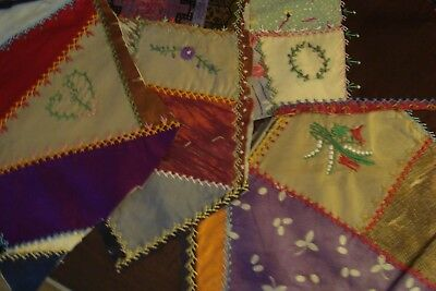 Antique Early 1900 Crazy Quilt Pieces ~ Lancaster County Pa ~ Lot Of 4