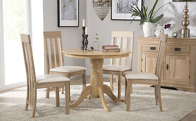 Kingston Round Oak Dining Room Table And 4 Chester Chairs