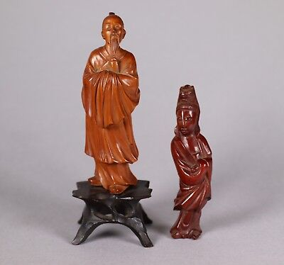 Two Vintage Early 20th Century Chinese Wood Figures