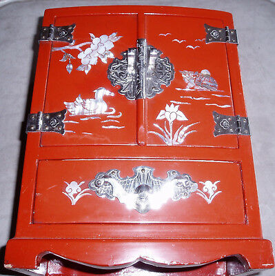 Vintage Asian Chinese inlay duck flowers Silver tone Wood Jewelry Box armoir
