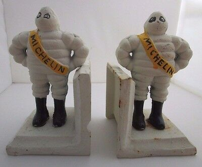 Vintage Michelin Man Tires Tire Advertisement Cast Iron Bookends