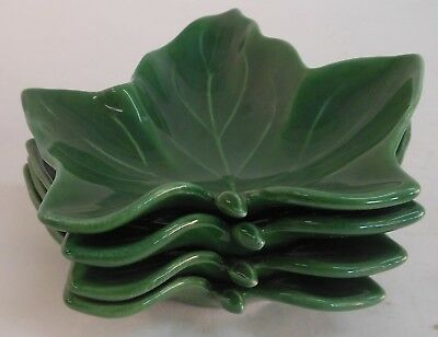 Vintage Franciscan Ivy Set Of 4 Leaf Butter Pats Nut Dishes Ashtrays Made In Usa