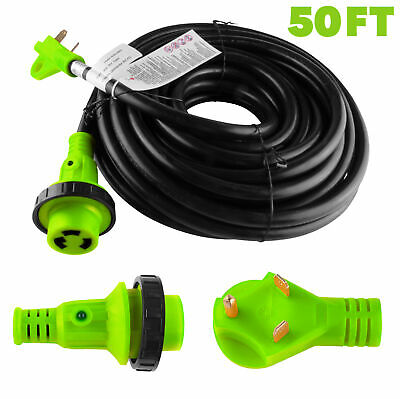 Rv Power Cord 50 Ft 30 Amp Detachable Cable With Led Twist