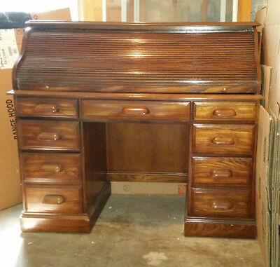 "antique oak roll top desk in excellent condition  50"" wide x 23"" deep x 44"" high"