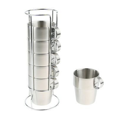 6PCS Stainless Steel Double Insulated Vacuum Coffee Mugs Tea Cup Camping BBQ