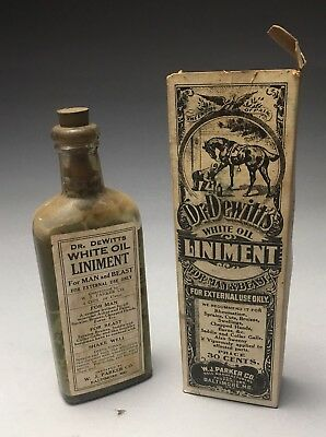 Dr. DeWitt's White Oil Linament Apothecary Bottle & Original Box Baltimore, MD