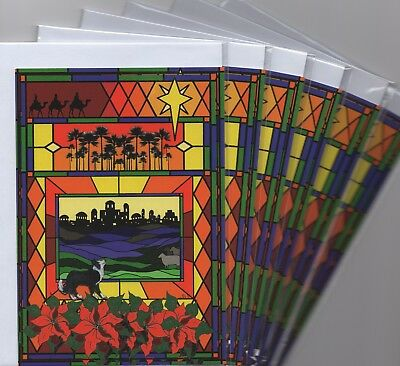 6 x Border Collie dog stained glass window holiday Christmas cards Susan Alison