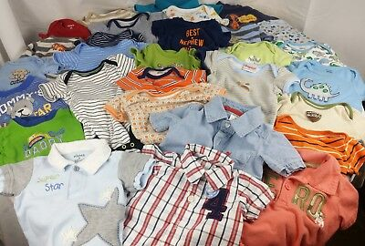 HUGE LOT Baby Clothes Newborn Onesies Bodysuits NB/0-3/3/6 Month Shirts Polos