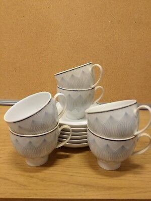 """Rosenthal studio line 6 espresso cups and saucers """"lotus"""" design blue and white"""