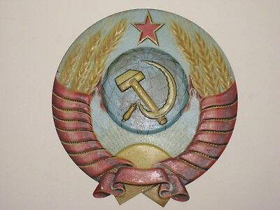 Collectable Communist Party Tin Wall Plaque From Russia