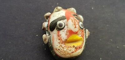 Stunning Phoenician glass face bead very old. Please read description!. L115q