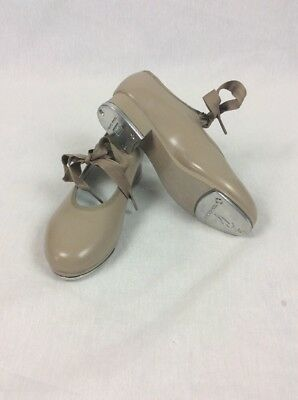 Bloch Youth Techno Taps Dance Tan Beige Lace Up Tap Shoes Child Size 1M