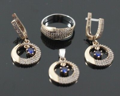 Jewelry & Watches Turkish Handmade Jewelry Sterling Silver 925 Sapphire Ring Earring Set 7 8 9 Fine Jewelry