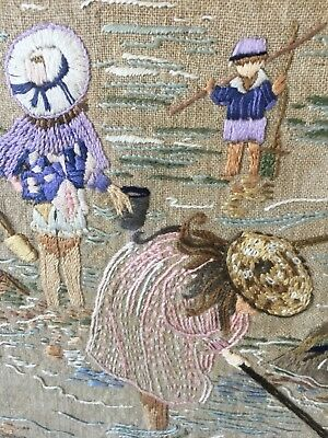Vintage Hand Embroidered Picture (siblings Rock Pooling Charming)