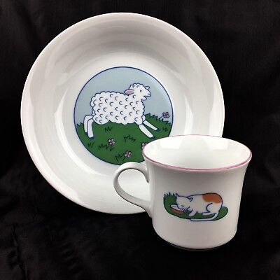 Ikea Lagard Plate and Mug Lamb Cat Cow Milk Maid Porcelain Thun Czechoslovakia