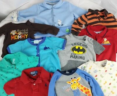 LOT of Baby Clothes 6-12 Months Bodysuits Shirts Fleece Button-Down Jacket