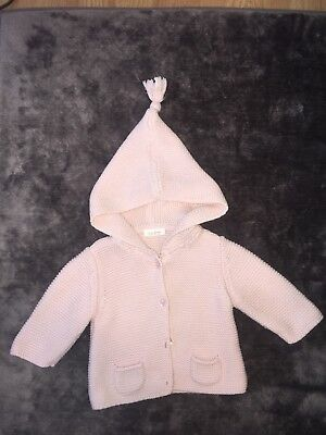 Next Baby Girl Pink Knitted Hooded Cardigan 0-3 Months