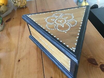 Old Mother Of Pearl Inlay Wooden Box Unusual Maybe Vintage Antique Bargain Old
