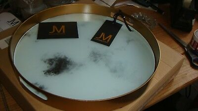 2 x By Julien Macdonald  miami marble effect tray -34 (dia) x (h) cm approx//,,