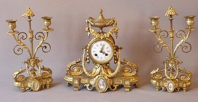 Support Fireplace, Clock And 2 Candlesticks, Style Louis XVI, Bronze Golden